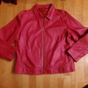 Chicos Red Leather Jacket size 2